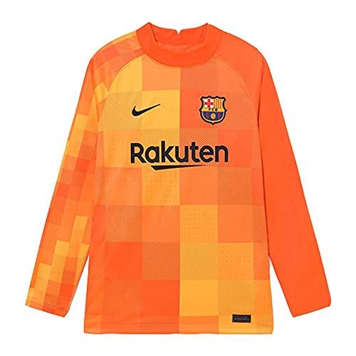 Nike 2021-2022 Barcelona Home Goalkeeper Football Soccer T-Shirt Trikot (Orange)