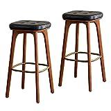 Taburetes Cocina Alto Juego de 2, Taburete de bar sin respaldo para muebles, sillas de taburete de altura de mostrador de cocina industrial de 25 pulgadas con altura de asiento y pub de madera, jue