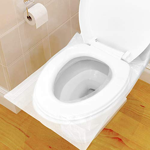 60 Pcs Protector WC Desechable Impermeable, HTBAKOI Protector Water Desechables Papel Cubre Inodoro Paquete Individual Material Antibacteriano Talla Universal Funda Desechable wc para Baño