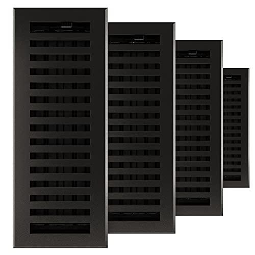 Imperial RG3478 Cast Iron Montezuma Decorative Floor Register, 4 x 12-Inch, Matte Black, 4 Pack