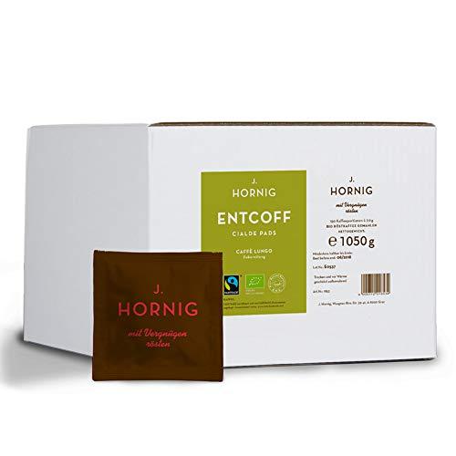J. Hornig Cialde Caffè Lungo Pads, Koffeinfreier Kaffee, Bio und Fair Trade, Entkoffeinierter Mahlkaffee in ESE Kaffeepads, 150 Stück Großpackung