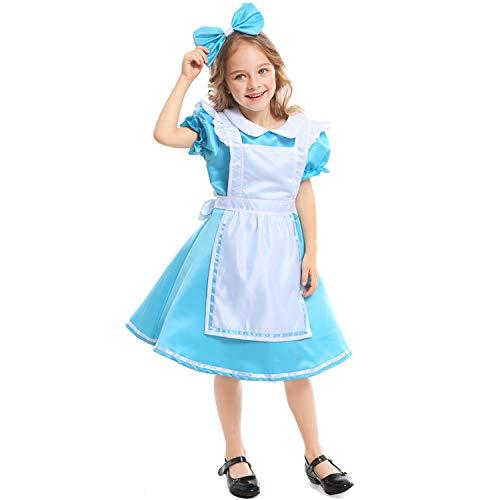 LOLANTA Mädchen Halloween-Kostüm Kinder Alice im Wunderland Cosplay Kostüm Gr. 2-4 Jahre, blau