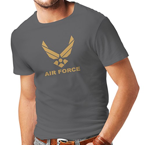 lepni.me Camisetas Hombre United States Air Force (USAF) - U. S. Army, USA Armed Forces (Large Grafito Oro)