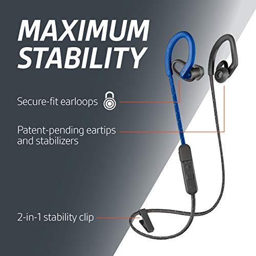 Plantronics BackBeat Fit 350 Bluetooth Auricular Deportivo, En la Oreja, Gris-Azul, Uni
