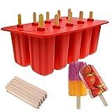 Molde de silicona para paletas de hielo, 10 cavidades, paleta de hielo, molde para pasteles, creativo, bricolaje, palitos de helado,bandeja de paletas de postre congelado con 100 palos