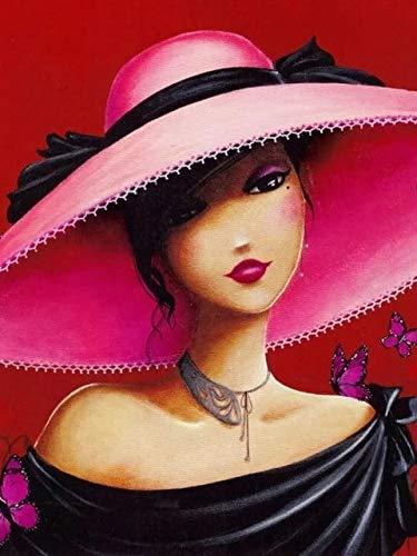 5D diamante pintura mujer Corss Stitch Kits taladro completo redondo bordado mosaico arte imagen de diamantes de imitación decoración regalo A8 50x70cm