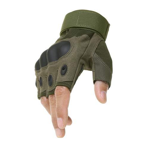 Outdoor Motorrad Hard Knuckle Fingerlose Handschuhe Motorrad Motocross Radfahren Half Finger Protective-green-1-L