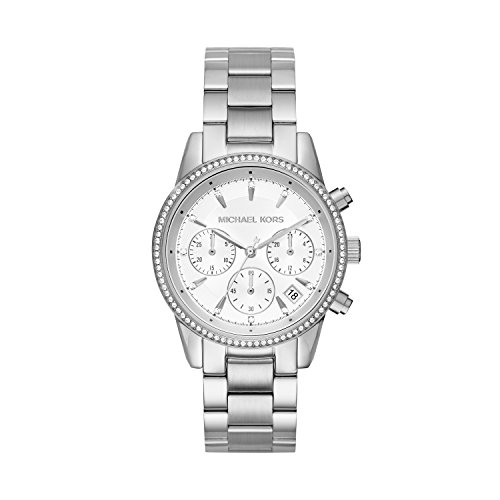 Michael Kors Damen Chronograph Quarz Uhr mit Edelstahl Armband MK6428