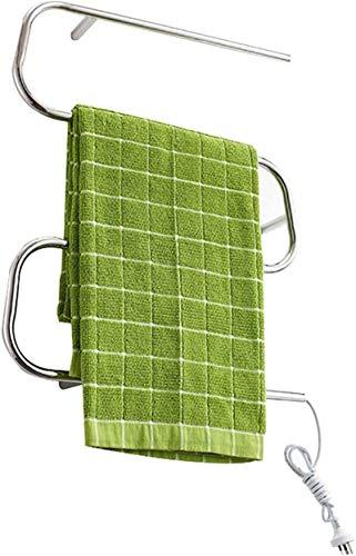 Toallero Eléctrico Calentador de toallas, calentador de toallas calientes, estante de toalla eléctrica de acero inoxidable, bastidor de secado de toalla cuadrada de pared 17.7 * 23.6 * 4.3 pulgadas, 3