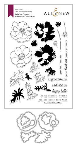 Altenew Popular Floral Layering Stamps Build-A-Flower: Anemone Coronaria Layering Stamp and Die Set (6' x 8') 7 Thoughtful Sentiments Included for Card Making, Scrapbooking, Journaling
