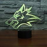 Wolf Kopfform Design LED 3D Taktschalter USB 3D kleine Nachtlicht Dekoration...