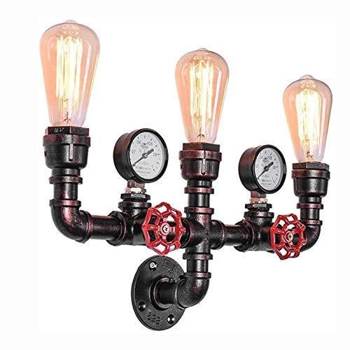 YANFEI 3 Luces Tuberías Apliques De Pared,Retro Industrial Anti-Rust Hierro Lámpara De Pared,Bar Restaurante Dormitorio Iluminación De Pared-Bronce 3 Luces