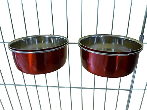 Ellie-Bo Pair of Dog Bowls For Crates, Cages or Pens and 3 Sizes (0.6Ltr Small, Red)