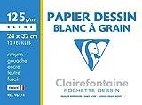 Clairefontaine 96174C - Un pochette Dessin à Grain blanc 12 feuilles 24x32 cm 125g