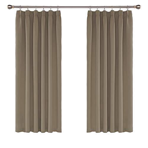 UMI. by Amazon 2 Stück Vorhang Blickdicht Verdunklungsvorhänge Gardinen mit Kräuselband Thermovorhang 138x117 cm Taupe