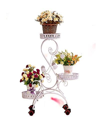QianDa Etagère à fleurs Pastorale Fleur De Fer Rack Multi-couche Push-pull Cadre Fleur Avec Roues, De Style Européen De Haute Qualité Bonsai Cadre Balcon Pot de fleurs Mur De Fer Etagères Fleurs mobil