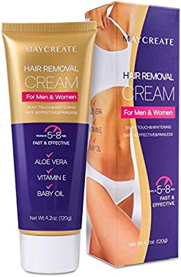 Maycreate Hair Removal Cream, Skin-Friendly, Painless Depilatory Cream, Gentle & Effective, Used for Arms, Underarm, Chest, Back, Bikini line and Legs