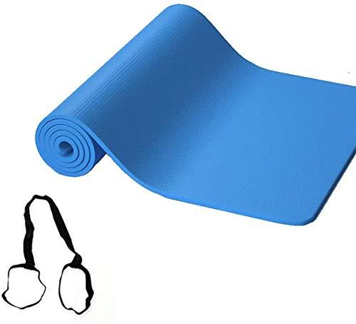 Esterilla de yoga acolchada de alta densidad de espuma NBR con correa de transporte, antideslizante, respetuosa con el medio ambiente, para gimnasio en casa, colchonetas gruesas, 183 x 61 x 1,5 cm