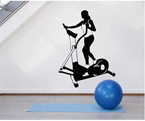 Muursticker Idee Fitness Vrouw Loopband Creatieve Vinyl Home Decor Muurdecoratie Licht Mooie Leven Mural 57X78Cm