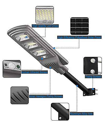 120W Solar Motion Street Light, 6000lm Outdoor Solar LED Street Lights Dusk to Dawn for Parking Lot, Yard, Garage, Patio, ST60-010, LOVUS