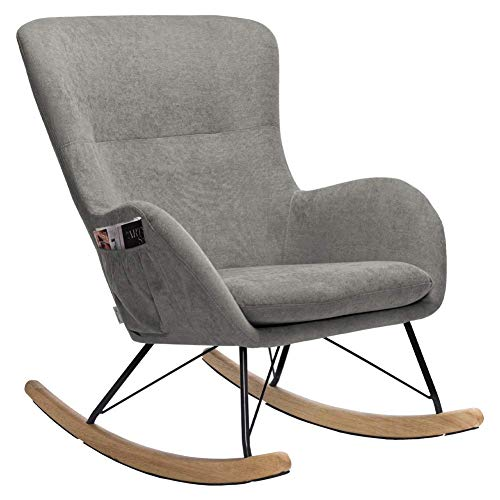 INMOZATA Grey Rocking Chair Linen Fabric Relax Rocking Armchair Lounge Chair Relaxing Rocker Recliner Chair with Extra Soft Padded Cushion for Outdoor Garden Living Room Bedroom (Grey)