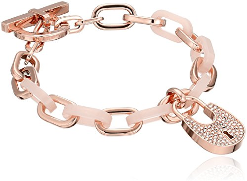 Michael Kors MKJ4888 791 Heritage PadlockR ose Gold Tone Blush Pave Toggle Link Bracelet
