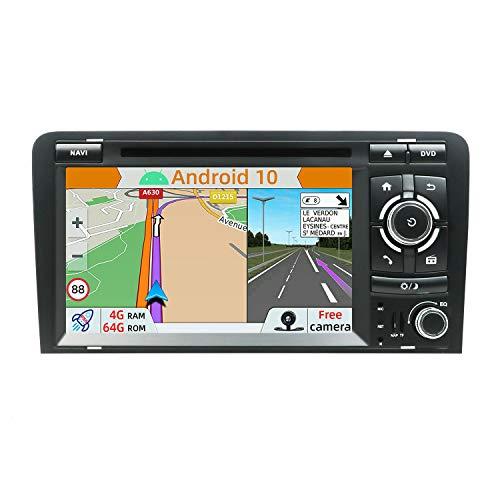 YUNTX PX6 Android 10 Autoradio Compatible avec Audi A3 (2003-2011) - 4G+64G - GPS 2 Din - Caméra arrière et Canbus GRATUITES - Soutien Dab+  DVD USB Commande au Volant WiFi Bluetooth Mirrorlink