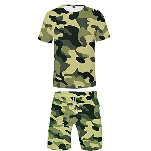 Verano Unisex 3D Camiseta Estampada Divertida Camisetas de Manga Corta y Pantalones Cortos de Natación Troncos de Playa Pantalones de Gimnasio de Surf con Cordón para Vacaciones(Verde 3,M)