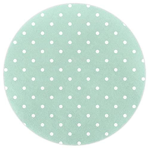 nakw88 Alfombra de piso grande redonda impresa para sala de estar o dormitorio acolchado grueso alfombra de juego 160 cm verde menta blanco lunares