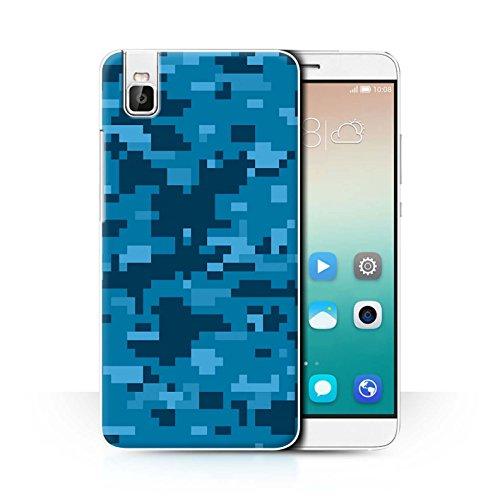 Stuff4 Hülle/Case für Huawei Honor 7i/ShotX/Blau Digital Urban Muster/Militär Camouflage Tarnung Kollektion