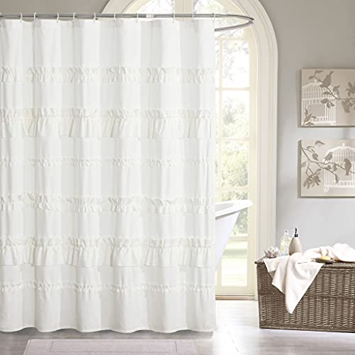HIG Handmade Ruffle Fabric Shower Curtain, French Country Bath Curtain for Master Bathroom, Decorative Girly Microfiber Bathroom Curtain with 12 Buttonholes, 72 Inch Long, Ivory, 1 PC (TREMENT)