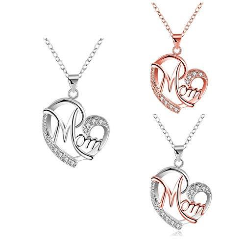 Collar para el día de la madre, colgante de cristal en forma de corazón de la madre, adecuado para regalo del día de la madre (plata+rosa)