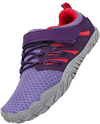SAGUARO Niños Zapatos Descalzos Adolescentes Zapatillas de Trail Running Zapatos de Agua Deportes Zapatos de Playa Outdoor Playa Gym, Morado 25
