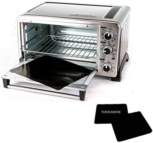 "TOOLSSIDE 100% Non-Stick 11"" Toaster Oven Liner 2 PACK. Finally, Prevent Spillovers, Gunk & Odors! Great Teflon Liner for Toaster Ovens, Dishwasher Safe, Best Toaster Oven Accessories"