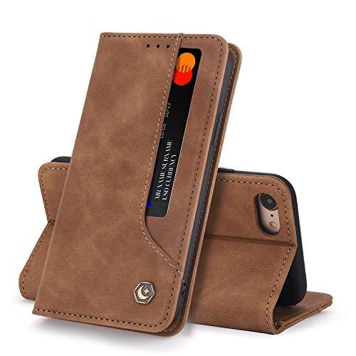 Funda Compatible con iPhone 7 Carcasa,iPhone 8 Fundas Cartera con Ranuras Tarjetas Cierre Magnético Cuero Flip Protector Antigolpes Tapa (Barro, iPhone 7/8)