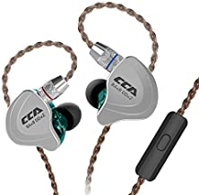 HiFi 1DD 4BA Hybrid Five Drivers in-Ear Earphone, CCA C10 Zinc Alloy Shell+Resin Cavity Wired Earbuds, High-Performance in-Ear Monitor with 0.75mm 2 Pin Gold Plated Detachable (Cyan with Mic)