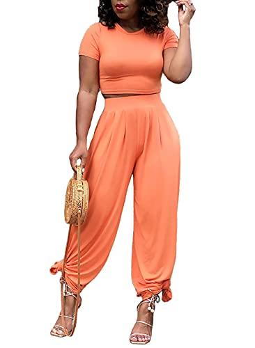 Womens 2 Piece Outfits Loungewear Short Sleeve Crop Tops Harem...