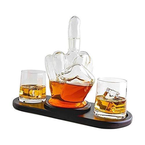 LEILEI Juego de decantador de Whisky Juego de Barra de decantador de Whisky de Dedo Medio,decantador de Licor Creativo,con 2 Vasos para Beber y Base de Madera, papá,1000 ml