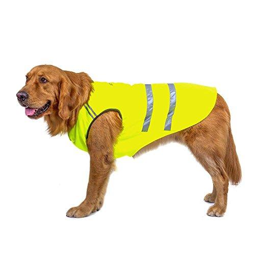 Bwiv Hunde Warnwesten Haustier Jacke Katze Mantel Bauchschutz Reflektierender Streifen Verdickungsstoff Draussen Gelbgrün 4XL (Rückenlänge 60cm, Brust 70-80cm)
