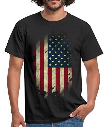 USA Flagge Vintage Look Amerika Männer T-Shirt, XL, Schwarz