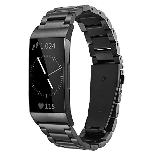Shangpule Compatible for Fitbit Charge 3 / Fitbit Charge 4 / Fitbit Charge 3 SE bands, Stainless Steel Metal Replacement Strap Wrist Band Compatible for Charge 3 Fitness Tracker Large Small (Black)