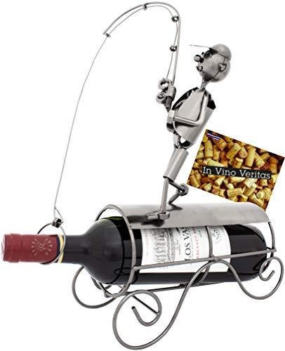 BRUBAKER - Porte-bouteille de vin - Pêcheur avec canne à pêche - Métal - Carte de vœux incluse - Idée cadeau originale - Objet décoratif