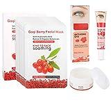Goji Berry Anti-Aging Moisturizing Set, 10 Pcs Facial Mask + Face Cream + Dark Circle Wrinkle-Remove Eye Cream for Make Skin Softer/More Elastic (Face+ Eye Night Cream + 10 Pcs Facial Mask)