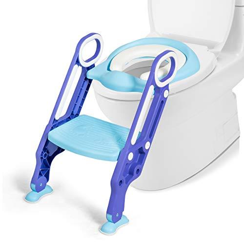 COSTWAY Kinder Toilettensitz höhenverstellbar, Kindertoilette faltbar, Toilettentrainer mit Leiter und Griffe, Töpfchentrainer zum Toilettentraining für Kleinkinder von 1 bis 5 Jahre (Blau + Lila)