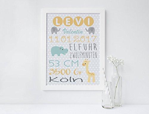 SomethingCute: Geburtsbild Design Levi / Geschenk zur Geburt, zur Taufe, Taufgeschenk, Geburtsgeschenkt, Fine Art Print