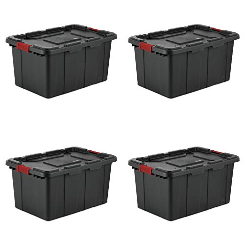Sterilite 14669004 27 Gallon/102 Liter Industrial Tote, Black Lid & Base w/ Racer Red Latches, 4-Pack
