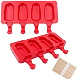 2 Pack Popsicle Silicone Molds, 4 Cavities Mini Ice Pop Mold, Red Oval Ice Popsicle Maker with 50 Wooden Sticks for DIY Ice Cream Cake Pop Cakesicles