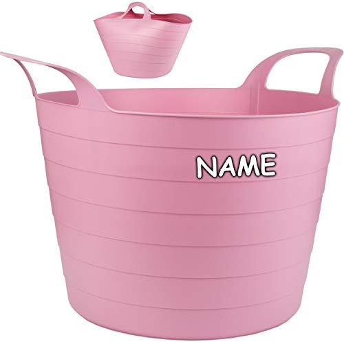 Flexi & flexibel - XXL großer - biegbarer - Aufbewahrungsbehälter mit Henkel - rosa / pink - inkl. Name - z.B. Garteneimer / Eimer / Wäschekorb / Trog / Botti..
