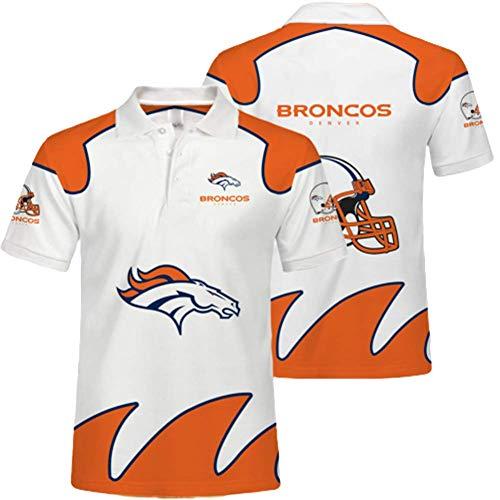 SryWj Denver Broncos Polo-Shirt, T-Shirt des Team-Anhängers, atmungsaktive 3D-Kurzarm-Sommerärmel, NFL-Trikots für Männer und Frauen