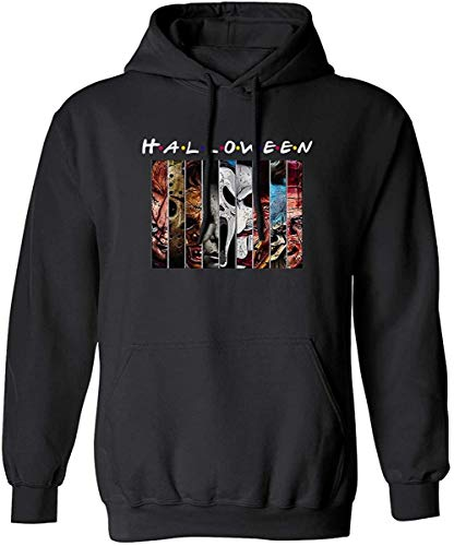 Halloween Friends Horror Movies Face Pennywise Michael Myers Jason Voorhees Characters Graphic Hoodie,Black,L